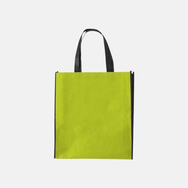 Ljusgrön/Svart Tygpåsar med mörk kontrastfärg med reklamtryck