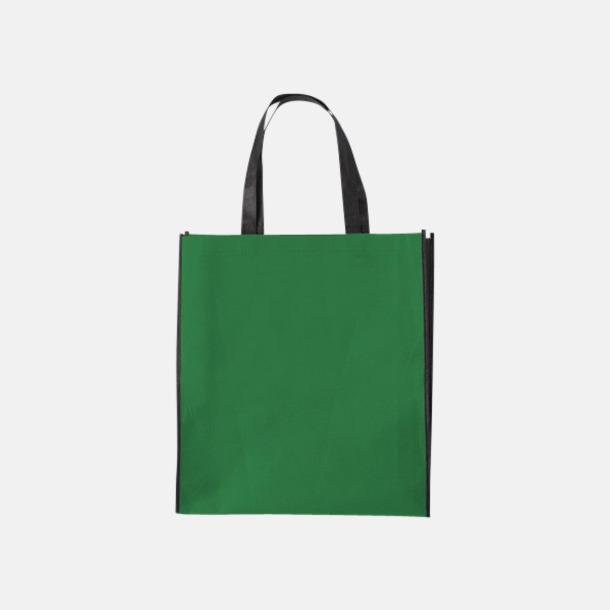 Grön / Svart Tygpåsar med mörk kontrastfärg med reklamtryck