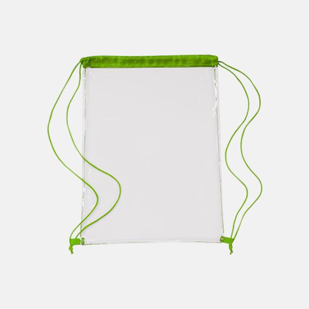 Transparent/Ljusgrön Genomskinliga gympapåsar med reklamtryck