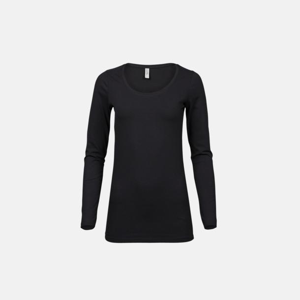 Svart Långärmade t-shirts med stretch - med rekamtryck