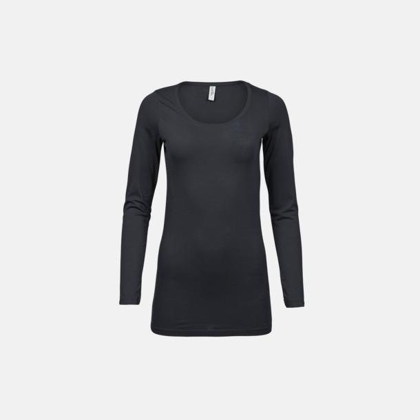 Mörkgrå (solid) Långärmade t-shirts med stretch - med rekamtryck