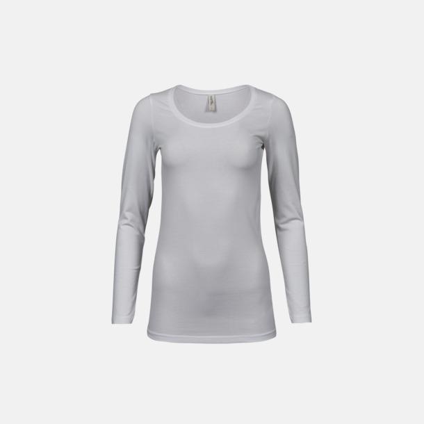 Vit Långärmade t-shirts med stretch - med rekamtryck