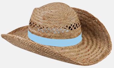 Ljusblå Stråhattar med färglada band med reklamtryck
