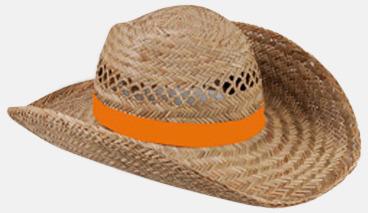 Orange Stråhattar med färglada band med reklamtryck