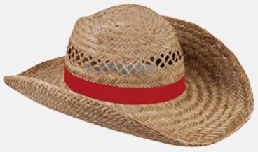 Röd Stråhattar med färglada band med reklamtryck