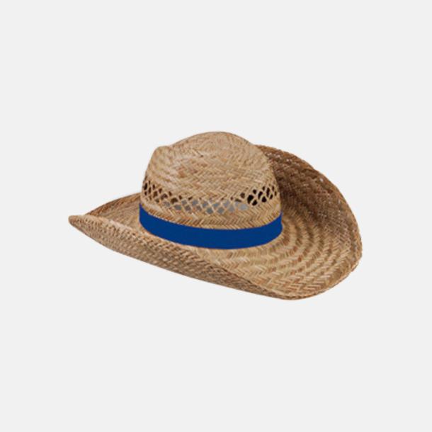 Royal Blue Stråhattar med färglada band med reklamtryck