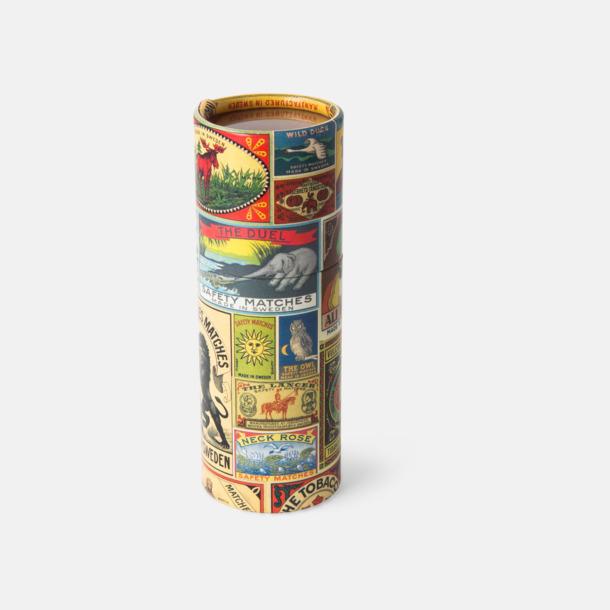 Långa brasstickor i runda askar om 45 eller 68 st med reklamtryck