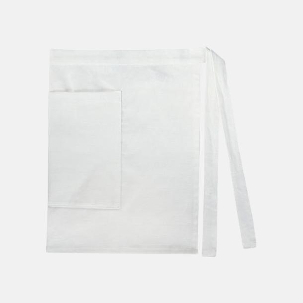 Vit (dam) Midjeförkläden i canvas med reklamtryck