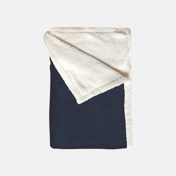 Marinblå Mjuka & fina sherpa fleece filtar med reklamlogo