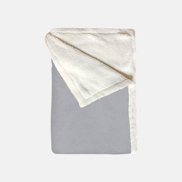 Ljusgrå Mjuka & fina sherpa fleece filtar med reklamlogo