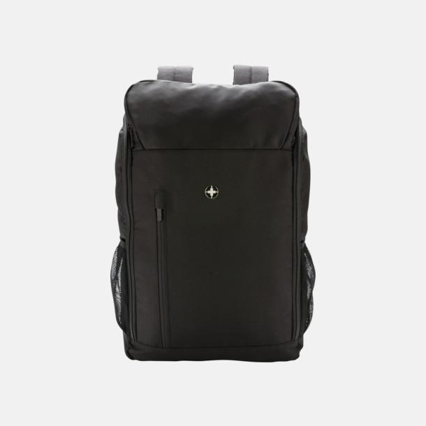 Svart Laptopryggsäck med RFID-skydd med reklamtryck