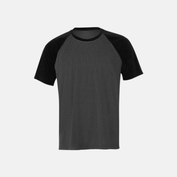 Dark Grey Heather/Svart Unisex tränings t-shirts med reklamtryck
