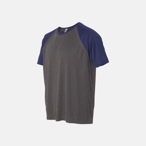 Dark Grey Heather/Sport Dark Navy Unisex tränings t-shirts med reklamtryck