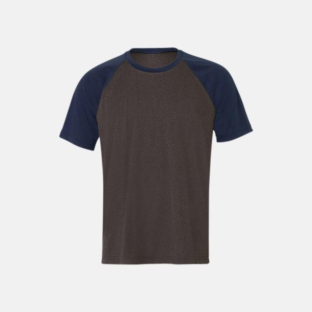 Dark Grey Heather/Sport Navy Unisex tränings t-shirts med reklamtryck