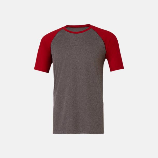 Dark Grey Heather/Sport Red Unisex tränings t-shirts med reklamtryck