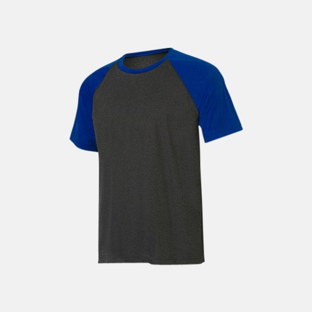 Dark Grey Heather/Sport Royal Unisex tränings t-shirts med reklamtryck