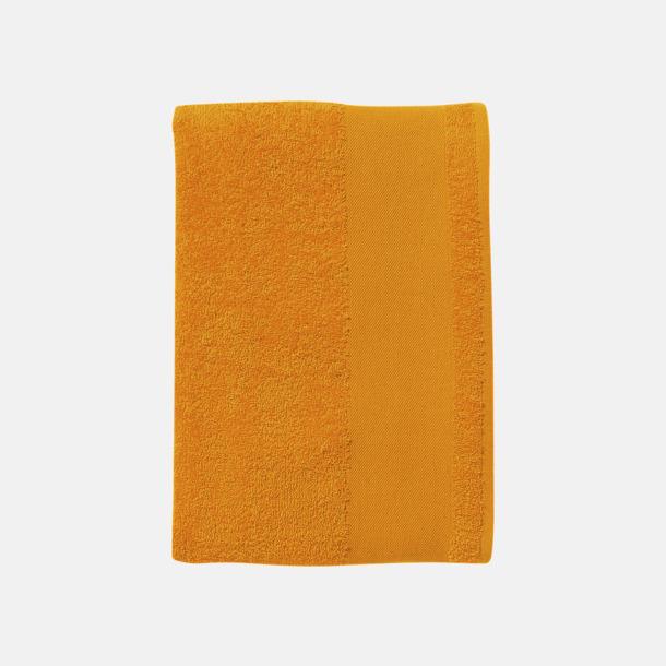 Orange Badhanddukar i terrybomull med reklamlogo
