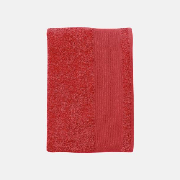 Röd Badhanddukar i terrybomull med reklamlogo