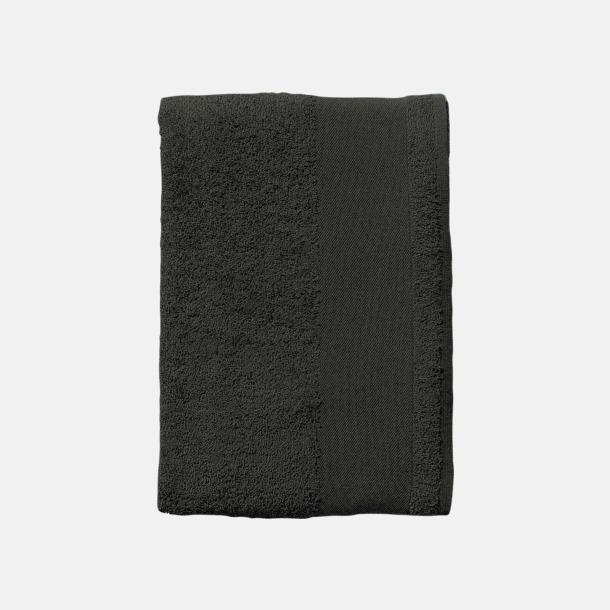 Mörkgrå (solid) Terrybomull badhanddukar med reklamtryck
