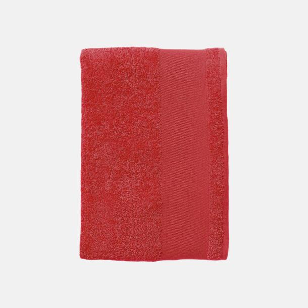 Röd Terrybomull badhanddukar med reklamtryck