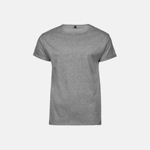 Heather Grey (herr) T-shirts med roll-up ärmar med reklamtryck