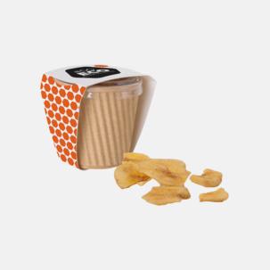 Torkad frukt som chips med reklamtryck