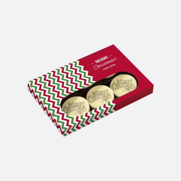 6-pack Vit choklad med julhälsning - med reklamtryck