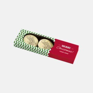 Vit choklad med julhälsning - med reklamtryck