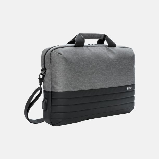 Grå / Svart Fina laptopväskor från Swiss Peak med reklamtryck