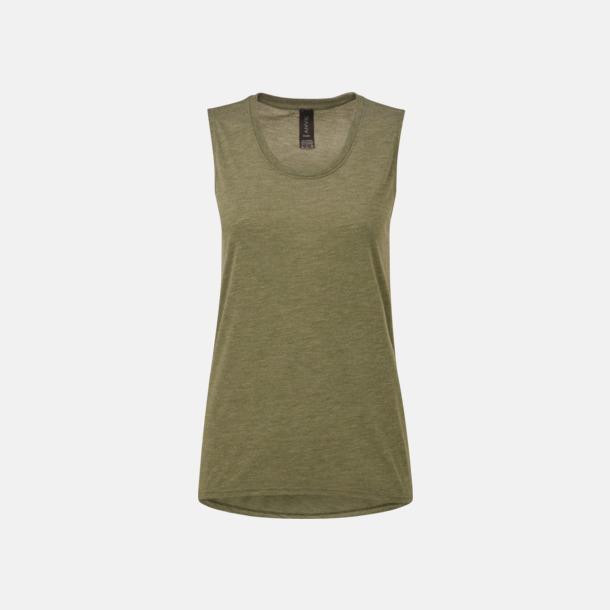 Heather City Green Stora, ärmlösa t-shirts med reklamtryck