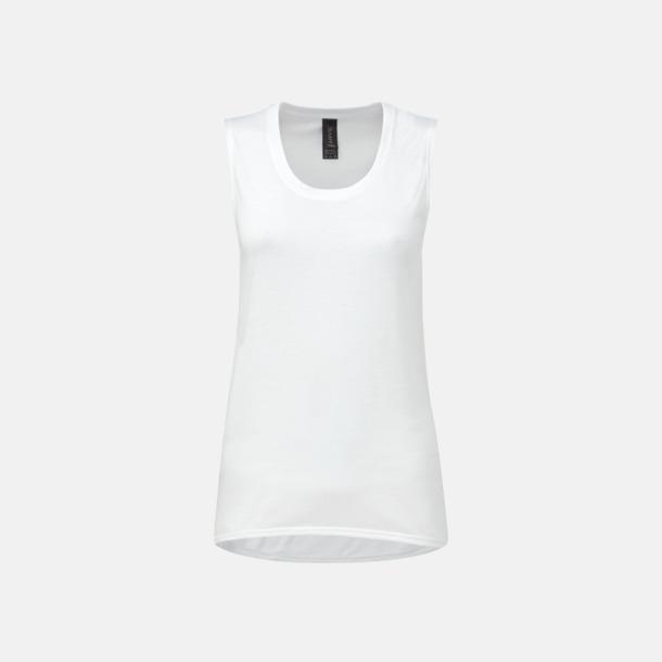 Vit Stora, ärmlösa t-shirts med reklamtryck