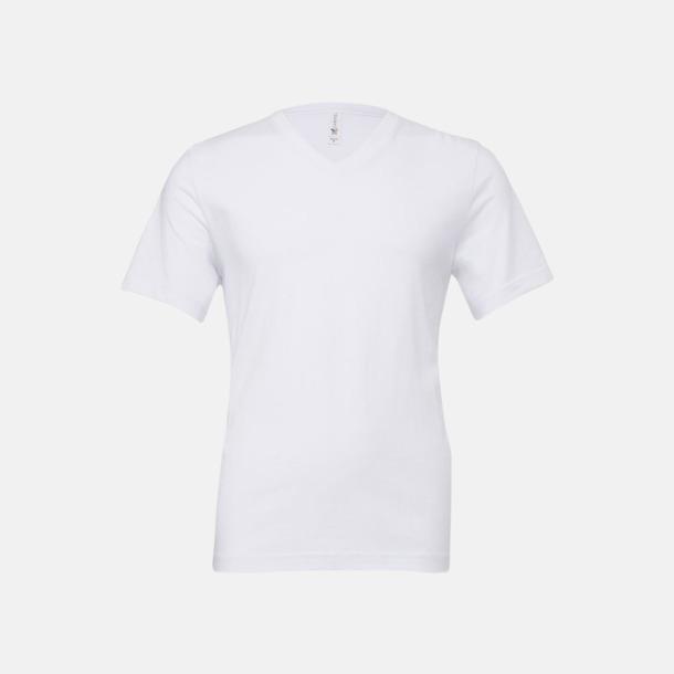 Vit V-ringade jerseybomulls t-shirts med reklamtryck