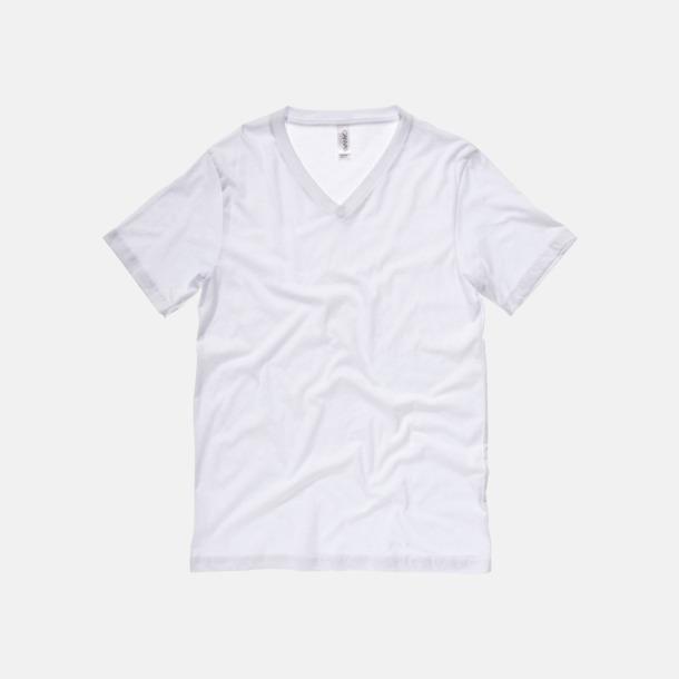 V-ringade jerseybomulls t-shirts med reklamtryck