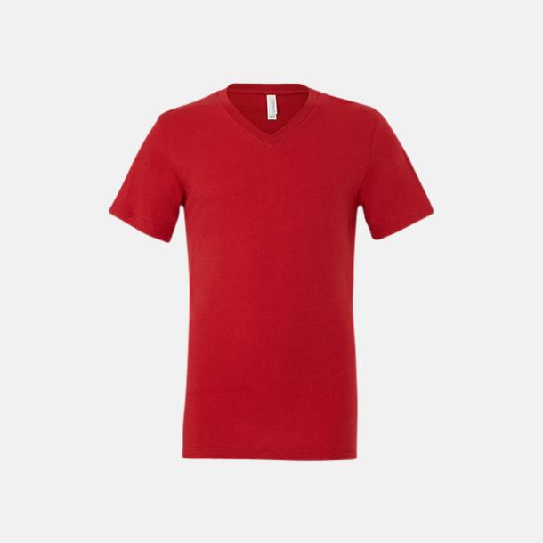 Röd V-ringade jerseybomulls t-shirts med reklamtryck