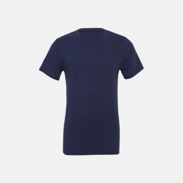 Marinblå V-ringade jerseybomulls t-shirts med reklamtryck