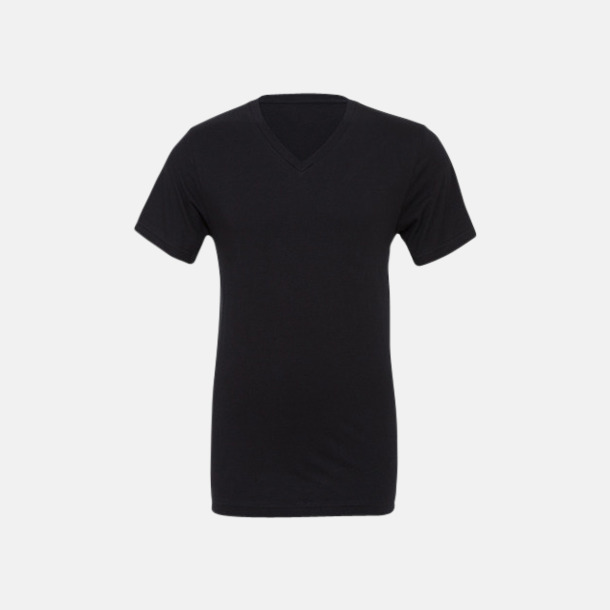 Svart V-ringade jerseybomulls t-shirts med reklamtryck