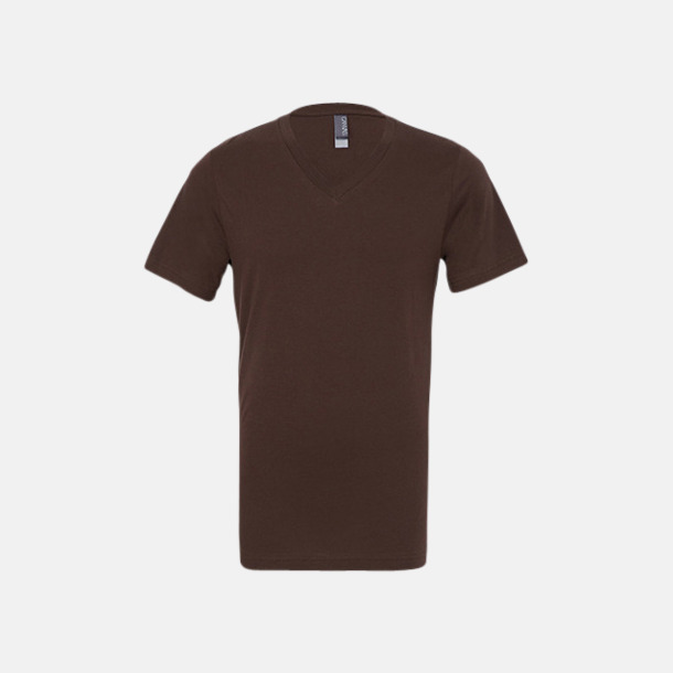 Brun V-ringade jerseybomulls t-shirts med reklamtryck