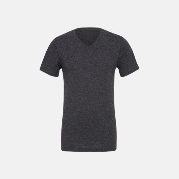 Dark Grey Heather V-ringade jerseybomulls t-shirts med reklamtryck