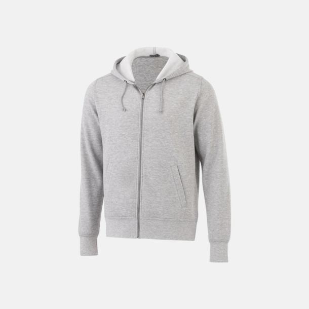 Heather Grey Blixtlåsförsedda hoodies med reklamtryck
