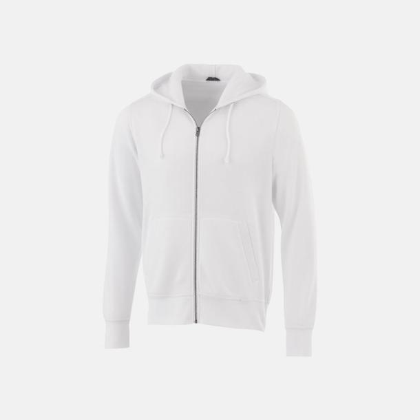 Vit Blixtlåsförsedda hoodies med reklamtryck