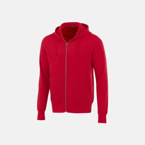 Röd Blixtlåsförsedda hoodies med reklamtryck