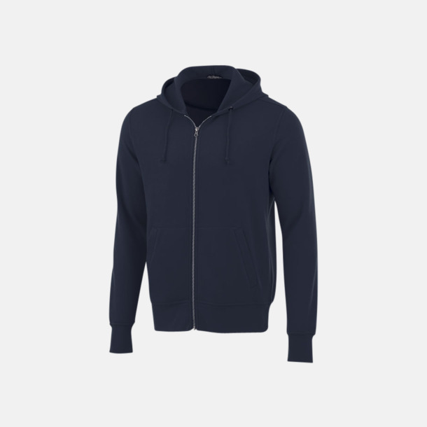 Marinblå Blixtlåsförsedda hoodies med reklamtryck