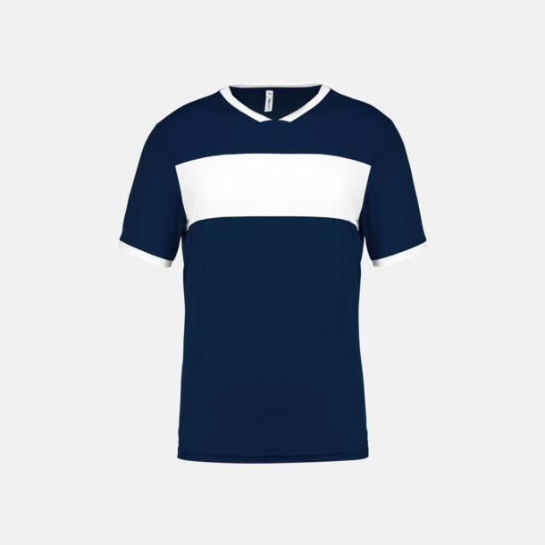 Sporty Navy/Vit Lag t-shirts i funktionsmaterial med reklamtryck