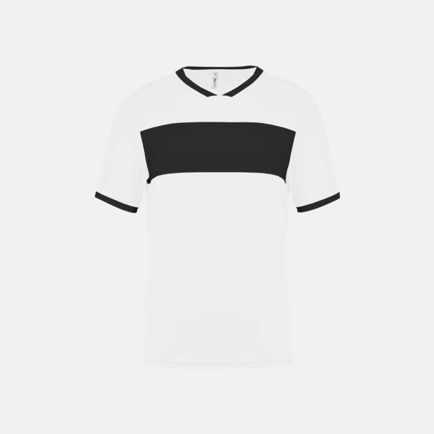 Vit / Svart Lag t-shirts i funktionsmaterial med reklamtryck