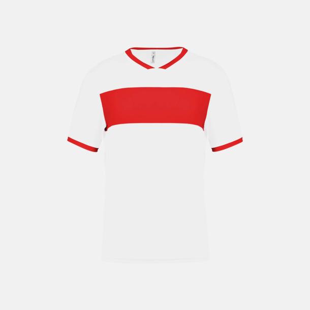 Vit/Sporty Red Lag t-shirts i funktionsmaterial med reklamtryck