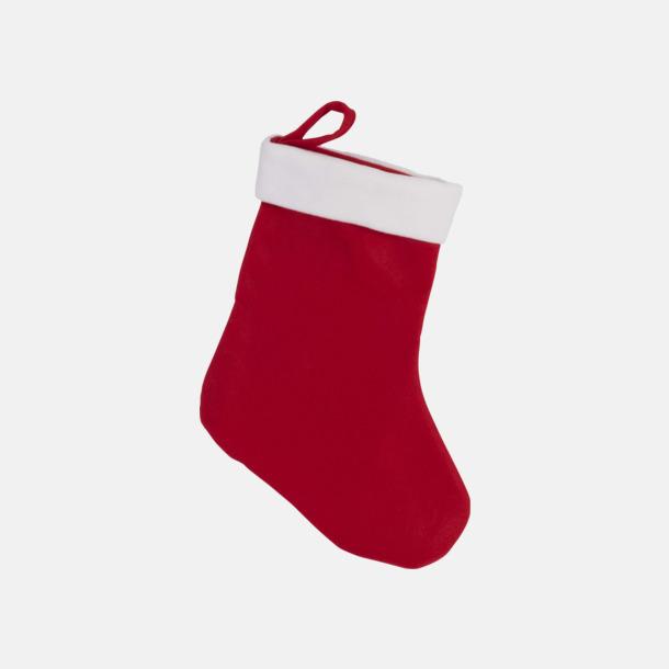 Röd / Vit Klassiska julstrumpor med reklamtryck