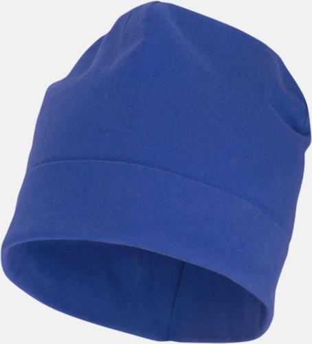 Blå Dubbellagrig beanie med reklamtryck