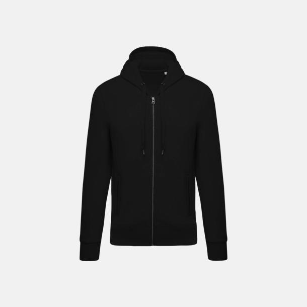 Svart (herr) Blixtlåsförsedda eko hoodies med reklamtryck