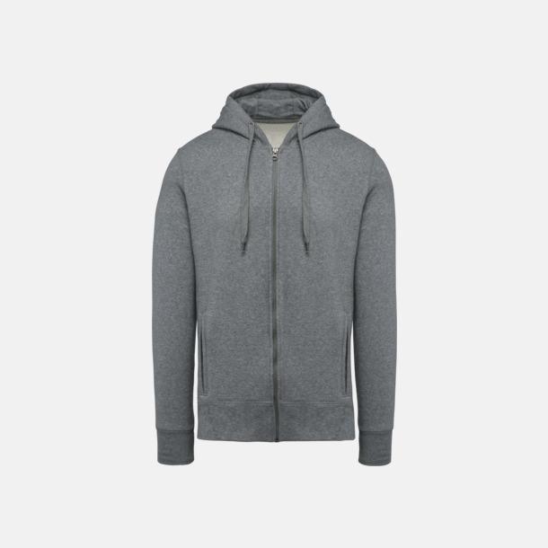 Grey Heather (herr) Blixtlåsförsedda eko hoodies med reklamtryck