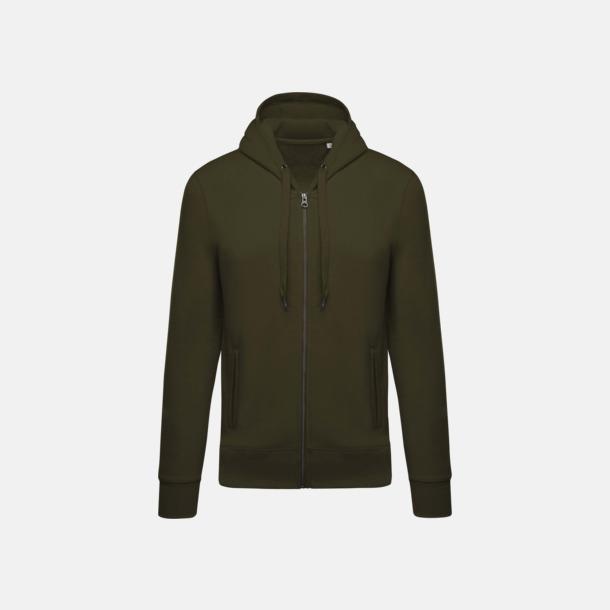 Mossy Green (herr) Blixtlåsförsedda eko hoodies med reklamtryck